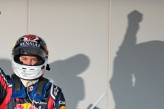 New Formula One champion German Sebastian Vettel of Red Bull cheers after the Japan Formula One Grand Prix at the Suzuka Circuit in Suzuka, Japan, 09 October 2011. Photo: Jan Woitas dpa